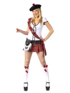 Sexy Schottin Damenkostüm schwarz-weiss-rot