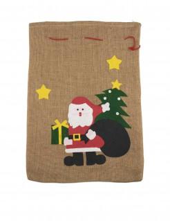 Weihnachtsmann Jute-Sack Weihnachtstasche beige 50x35cm