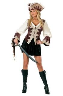 Edle Piratin Damenkostüm Deluxe braun-weiss-schwarz