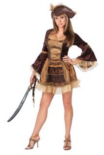 Viktorianische Piratin Damenkostüm braun-beige