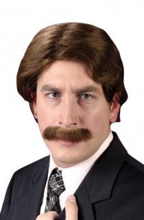 70er Dandy Perücke mit Bart braun