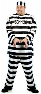 Sträfling Herren-Kostüm schwarz-weiss