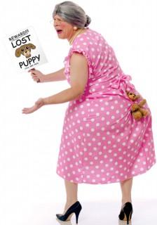 Dicke Oma mit Hund Kostüm rosa-weiss