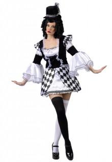 Zirkus Damenkostüm Harlekin schwarz-weiss