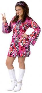 Groovy 70er Kleid Disco Kostüm XL pink-bunt