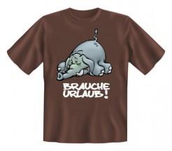 Fun-Shirt Brauche Urlaub braun-grau-weiss