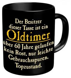 Tasse Oldtimer Über 60 Jahre gelaufen Kaffeebecher schwarz-gelb 300ml