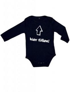 Lustiger Baby Strampler Hier füllen... schwarz-weiss
