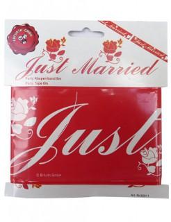 Absperrband Just Married Hochzeitsdeko weiss-rot 6m