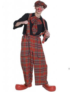 Clown Latzhose mit Karomuster rot-schwarz-weiss