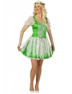 Gänseblümchen-Damenkostüm Feenkostüm grün-weiss