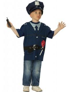 Polizeishirt T-Shirt für Kinder blau-schwarz
