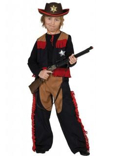 Cowboy Kinderkostüm schwarz-rot-braun