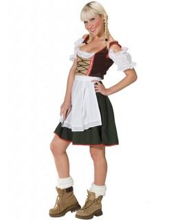 Tirolerin Trachten-Kleid mit Schürze weiss-braun-grün
