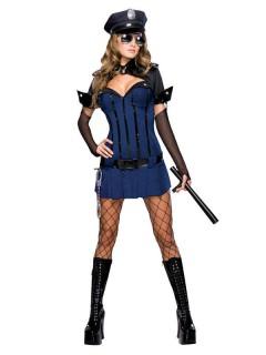 Nachtwächterin Damenkostüm Polizistin blau-schwarz
