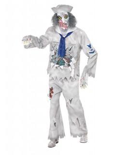 Zombie Matrose Halloween-Kostüm weiss-blau