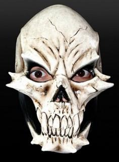 Echsenschädel Halloween Latexmaske beige