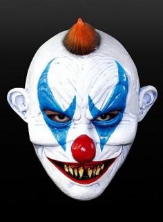 Fieser Clown Halloween-Maske weiss-blau-rot