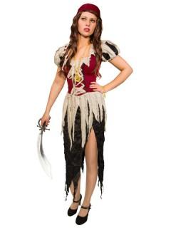 Lumpen-Piratin Damenkostüm rot-beige-schwarz