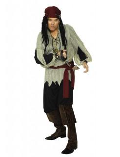 Pirat Kostüm schwarz-beige-rot