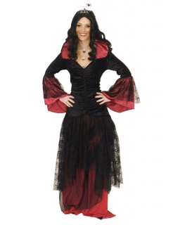 Elegante Vampirin Hexe Damenkostüm Plus Size schwarz-rot