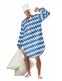 Bayerisches Nachthemd Kostüm weiß-blau