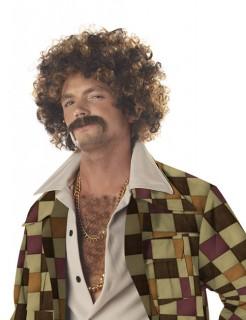 70er-Jahre Afro-Perücke mit Bart hellbraun