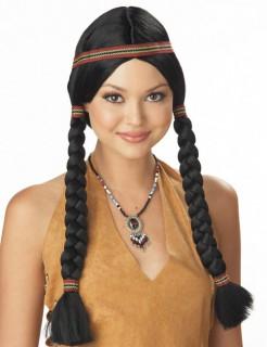 Indianerin Zöpfe Perücke schwarz