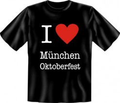 T-Shirt I Love München Oktoberfest schwarz-weiss-rot