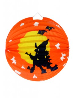 Halloween Deko Hexe Lampion Laterne 22cm orange