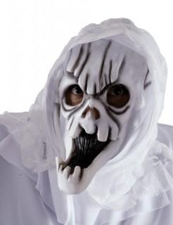 Gruslige Totenkopf Halloween Geister Maske mit Kapuze weiss