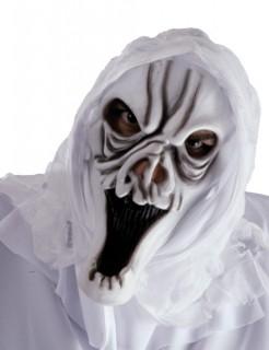 Totenkopf Skull Halloween Geister Maske mit Kapuze weiss