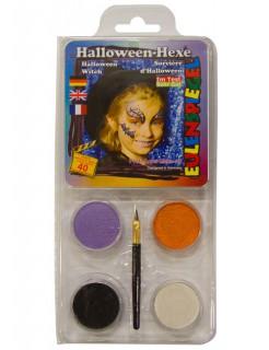 Schmink Motiv-Set Halloween-Hexe 5-teilig lila-orange-schwarz-weiss 20g