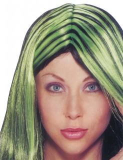 Frisierbare Hexen-Perücke schwarz-grün