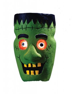 Monster mit Leuchtaugen Halloween-Dekoration grün-schwarz