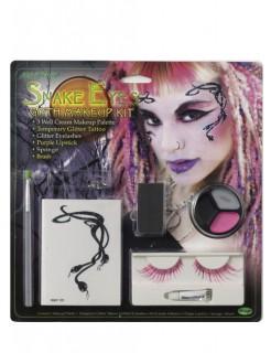 Schlangen Gothic Wimpern Tattoo Make-Up Set bunt