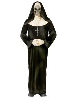 Zombie-Nonne Halloween-Kostüm Skelett schwarz-weiss