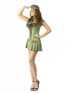 Sexy Army Soldatin Mini Damen-Kostüm grün