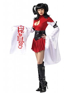 Sexy Samurai Geisha Japan Mini Damen-Kostüm schwarz-weiß-rot