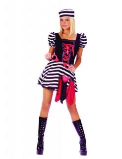 Sexy Gefangene mit Handschellen Damen-Kostüm schwarz-weiss-rot