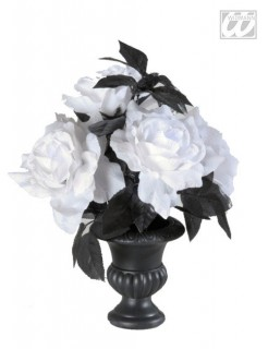 Vase mit leuchtenden Rosen Halloween-Deko schwarz-weiss 35cm