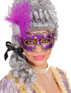 Maskenball Augenmaske mit Glitzer-Steinen und Federn lila-gold