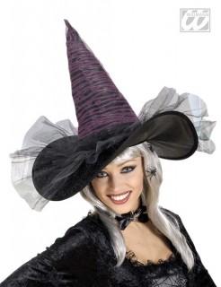 Leuchtender Glasfaser-Hexen-Hut schwarz-pink