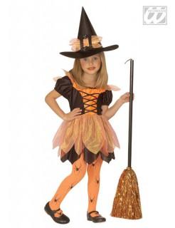 Wald-Hexe Halloween-Kinderkostüm schwarz-orange