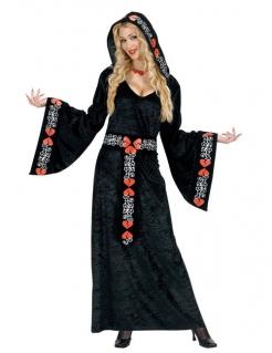 Mittelalterliche Königin Damenkostüm schwarz-rot-weiss