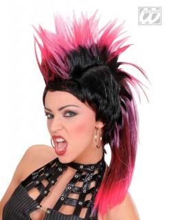 Irokese Punk-Perücke schwarz-rot