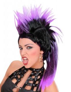 Irokese Punk-Perücke schwarz-lila