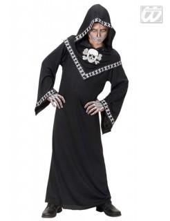 Knochen-Fürst Skullzar Robe mit Haube schwarz-weiss