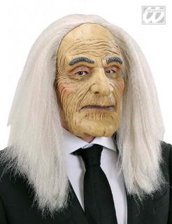 Butler Maske mit Haarteil grau-beige-weiss