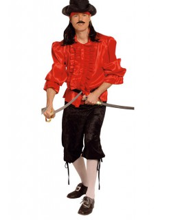 Piraten-Rüschenhemd rot